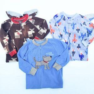 CARTERS 2t boys fleece Footed pajamas bundle